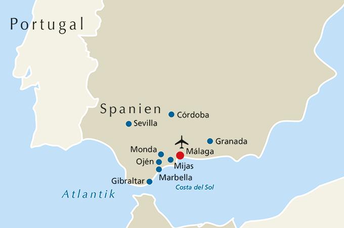 Malaga Karte Spanien.Andalusien Rsd Reisen At